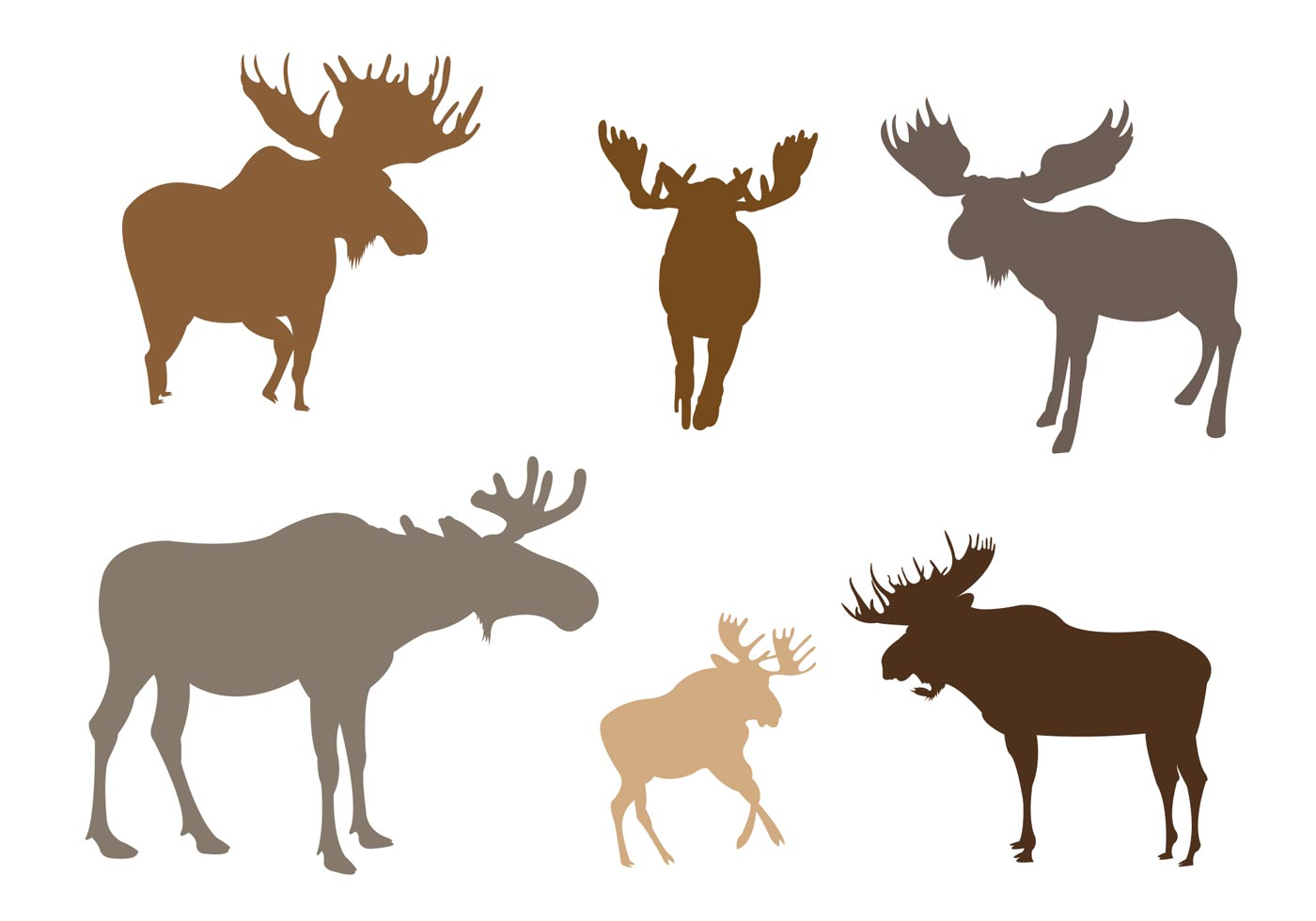 1400x980 Set Of Moose Silhouette In Vector Format