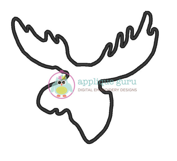 570x517 Moose Head Silhouette Applique Machine Embroidery Design