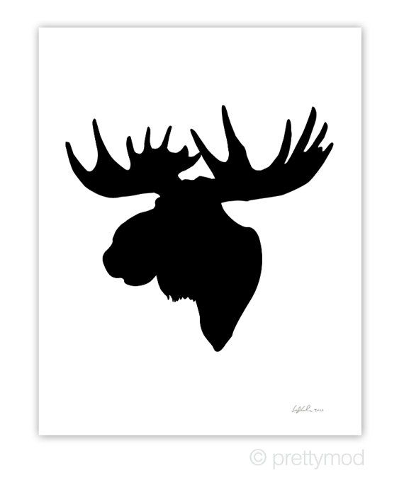 570x678 Moose Head Silhouette Print Color On White By Prettymod On Etsy