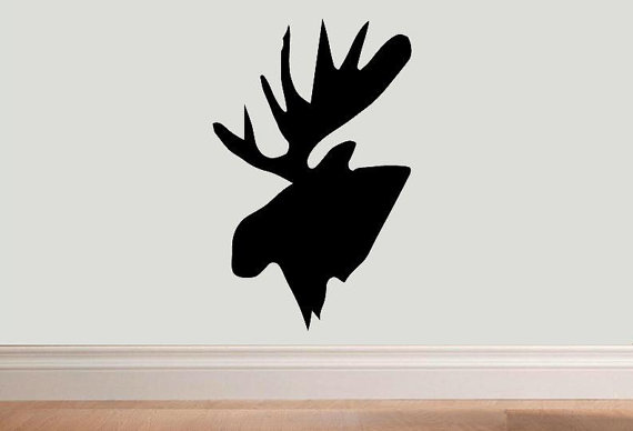 570x388 Items Similar To Vinyl Wall Decal Moose Head Silhouette Design 2