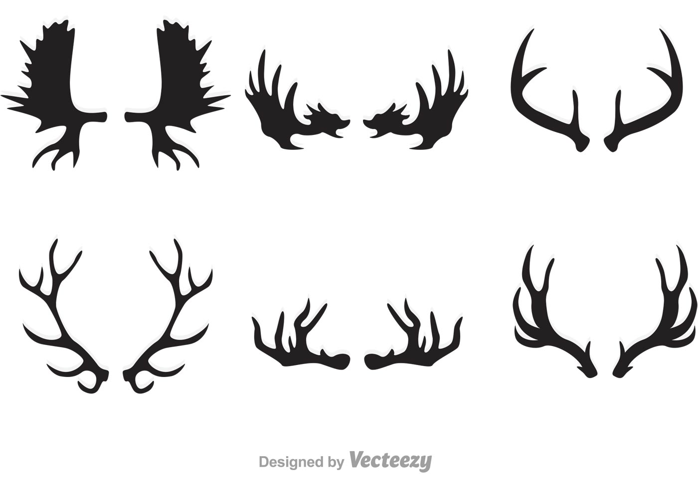 1400x980 Deer And Moose Horn Vectors