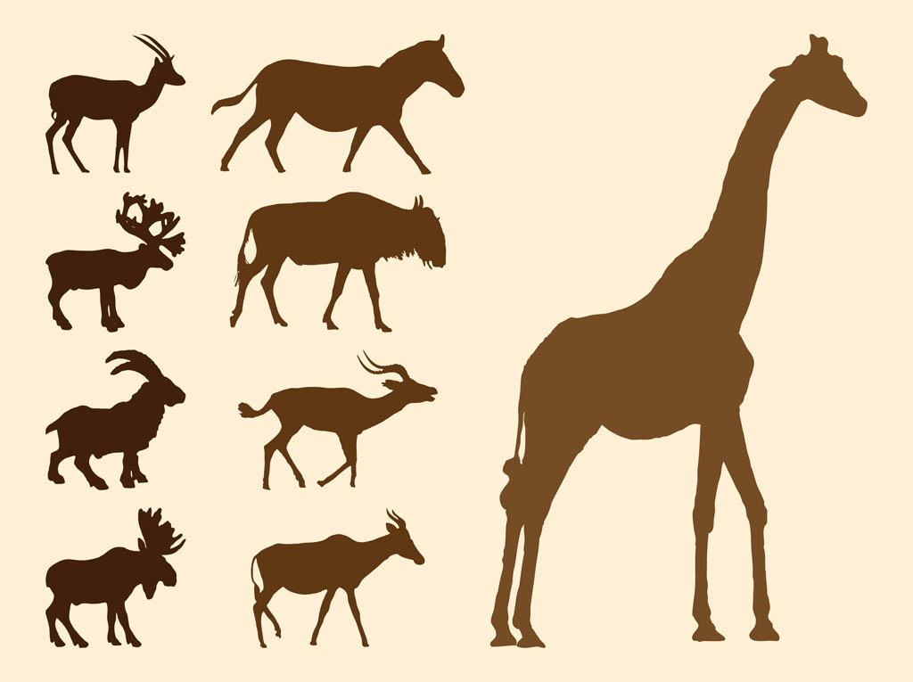 1024x765 Wild Animals Silhouettes Set Vector Art Amp Graphics