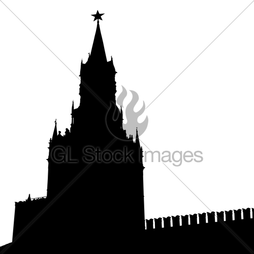 500x500 Moscow, Russia, Kremlin Spasskaya Tower With Clock, Silho Gl