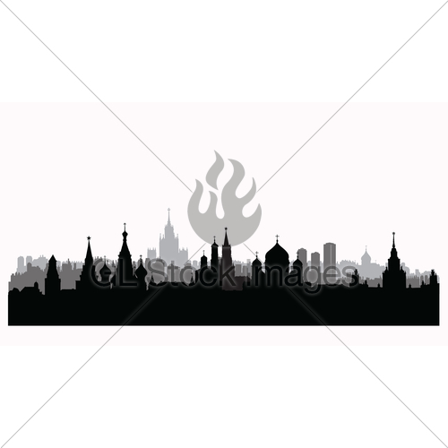 500x500 Moscow City Buildings Silhouette. Russian Urban Landscape Gl