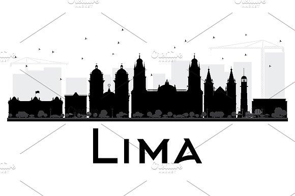 580x386 Lima City Skyline Silhouette Graphics Lima City Skyline Black