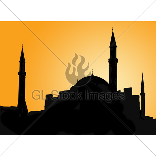 500x500 Silhouette Of A Mosque Against Evening Sky Gl Stock Images