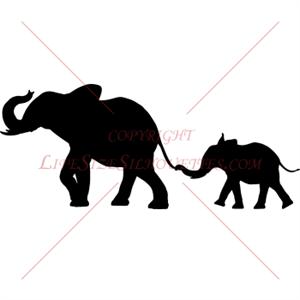 300x300 Mother Amp Baby Elephant Silhouette (Safari Animal Decor) Tats