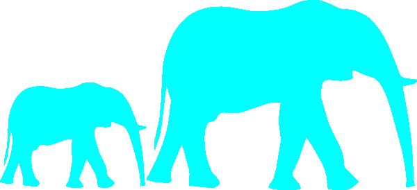 600x274 Mom And Baby Elephant Blue Clip Art