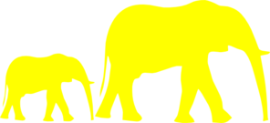 296x135 Mom And Baby Elephant Yellow Clip Art