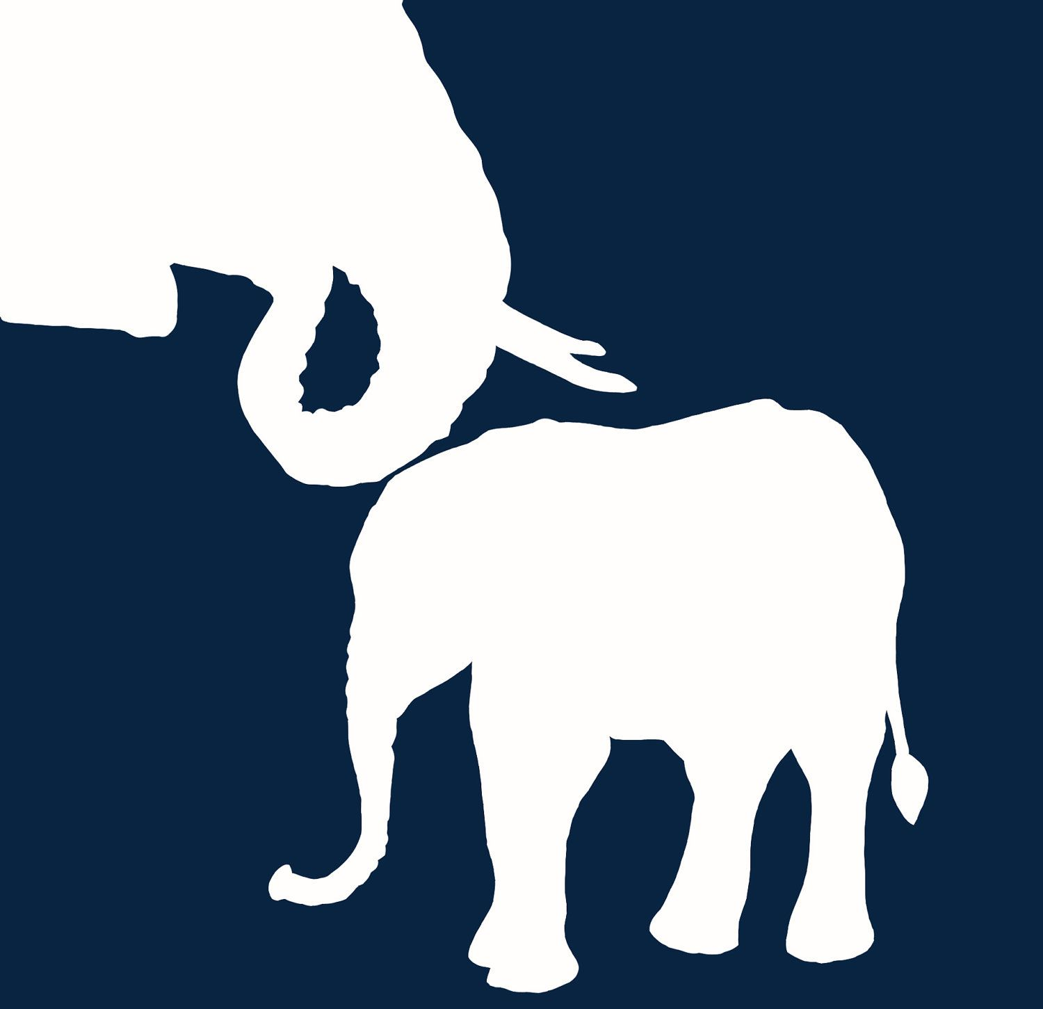 1500x1451 Mother Elephant And Baby Elephant Custum Silhouette Painting