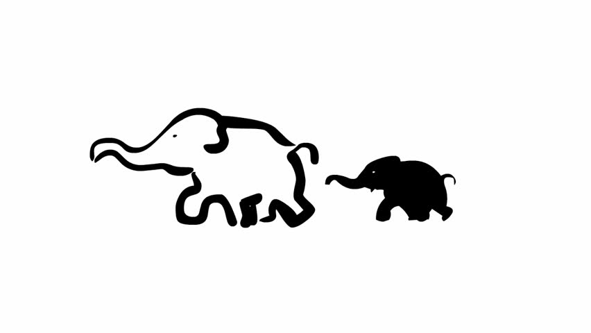 852x480 Silhouette Of The Black Elephant, Animation Stock Footage Video