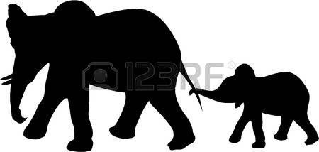 450x214 Silhouette Safari Animals Elephant And Baby Elephants