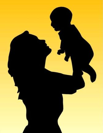 336x433 Mother Holding Child Silhouette