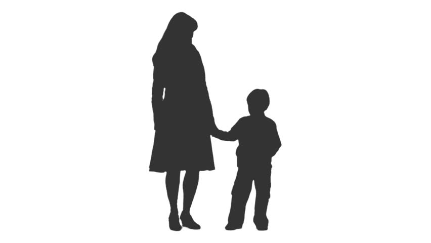 852x480 A Little Boy And His Mother Standing And Talking. Front View. Hd