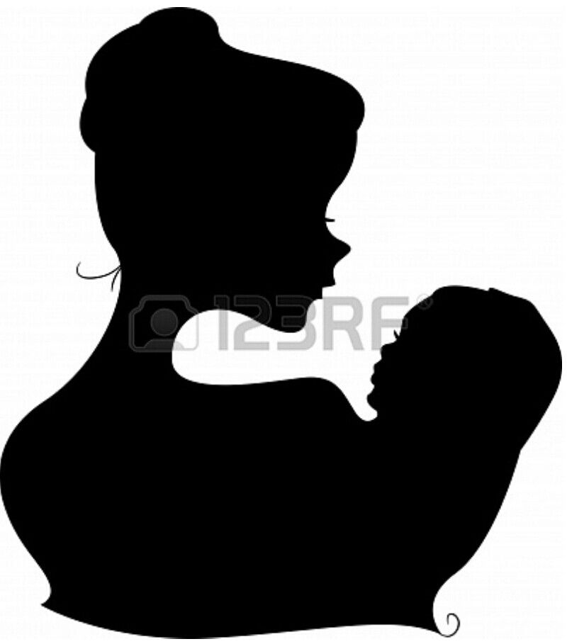 800x909 Mother And Child Silhouet Template Stencil. Great Mural (Chalk