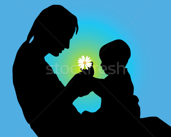 600x480 Silhouette Of Mother And The Child With A Flower In Hands Vector