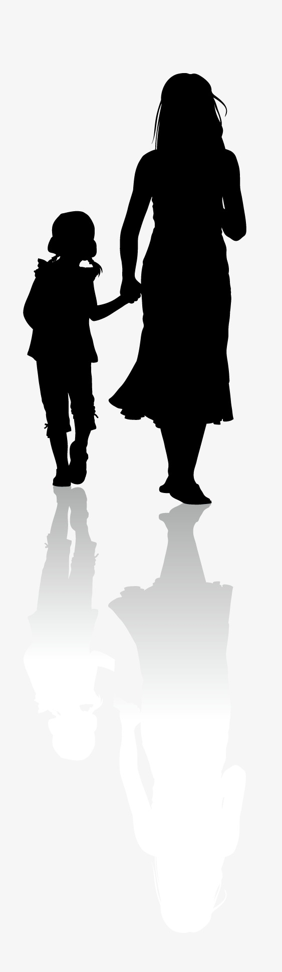 563x1942 Vector Silhouette Mother Child, Mother, Mom, Sketch Png And Vector