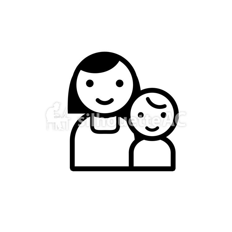750x750 Free Silhouette Vector 2 People, Mom, Children