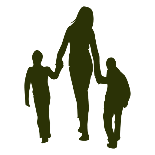 512x512 Mom With Children Silhouette