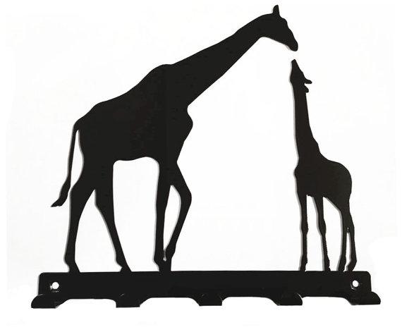 570x471 Mother And Baby Giraffe Silhouette Key Hook Rack Metal Wall