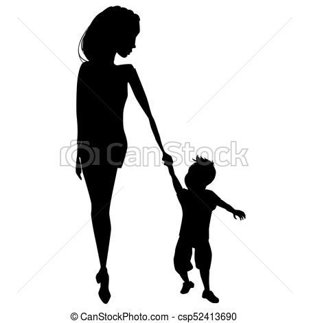 450x470 Mother And Child Silhouettes. Mother And Child Peacefully Eps
