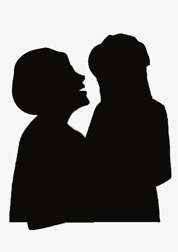 596x842 Black Silhouette Cartoon Mother Daughter, Black, Mother