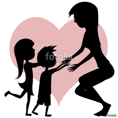 500x500 Hug Your Mom! Mom, Son Daughter Silhouettes. Stock Image