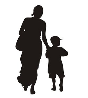 294x330 Mother And Child Silhouette 1 Decal Sticker