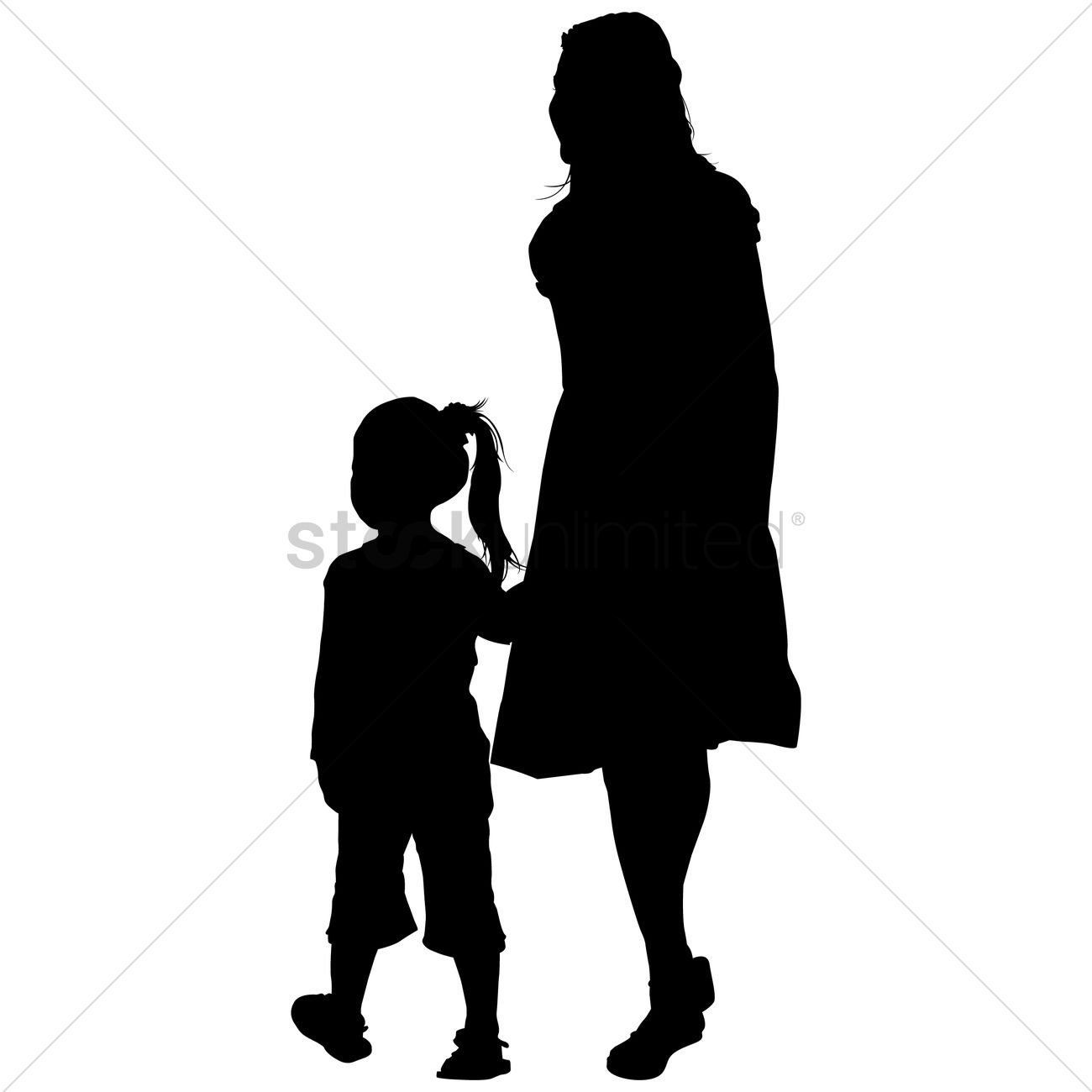 1300x1300 Silhouette Of A Mother And Daughter Vector Image
