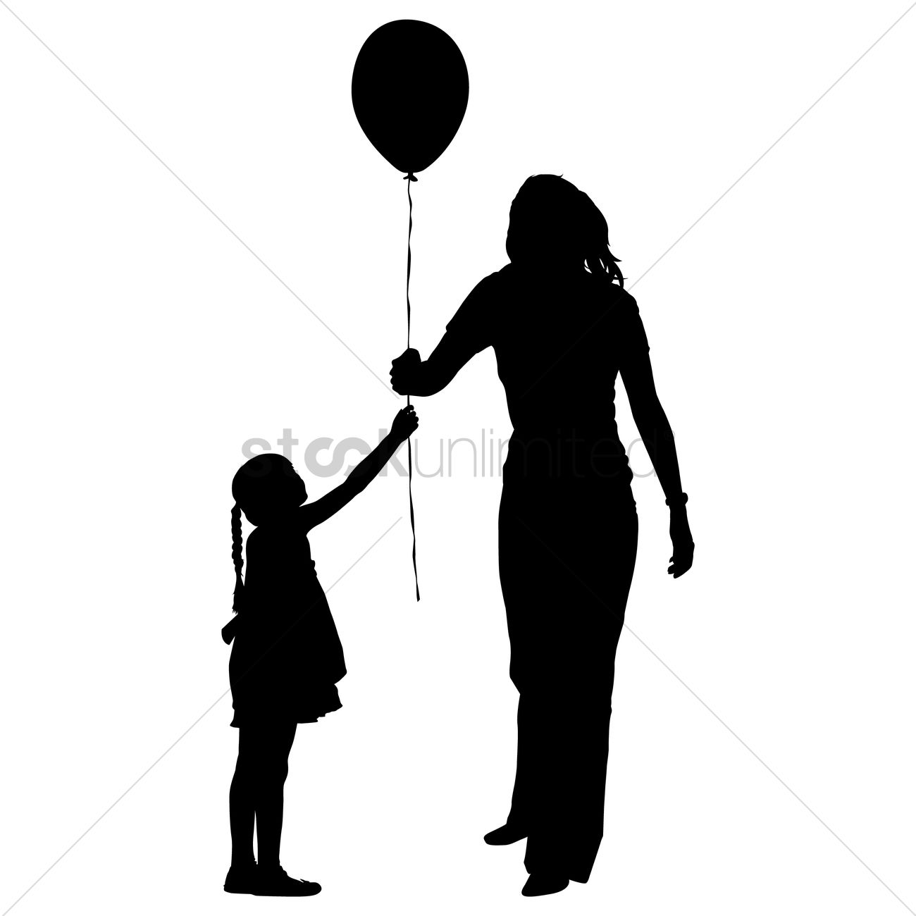 1300x1300 Silhouette Of A Mother And Daughter With Balloon Vector Image