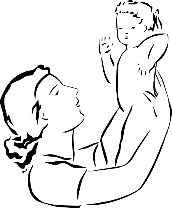 581x700 Mother And Father Holding A Baby Clipart Black And White Collection
