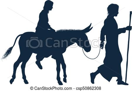 450x313 Mary And Joseph Christian Illustration Silhouettes. A Vector
