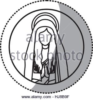 300x320 Circular Sticker With Silhouette Virgin Mary And Saint Joseph