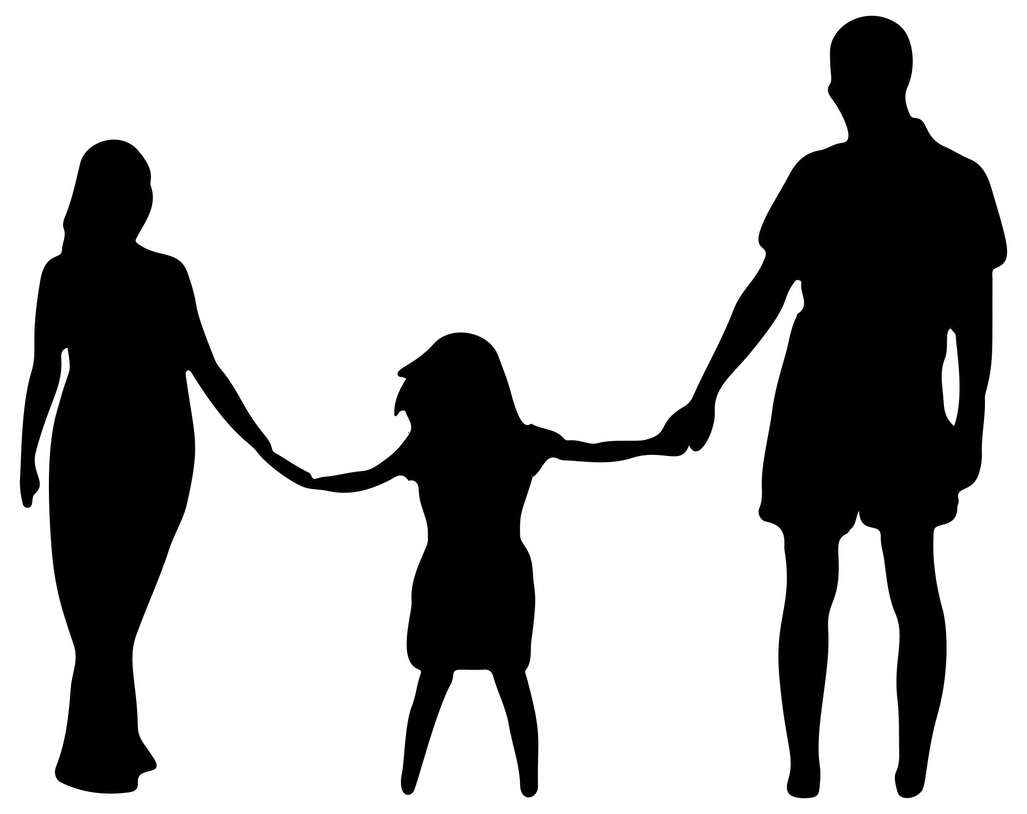 2098x1664 Mother Daughter Father Holding Hands Silhouette Clipart