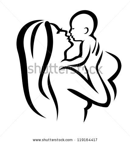 428x470 Mother And Baby Vector Silhouette, Sketch In Black Lines By