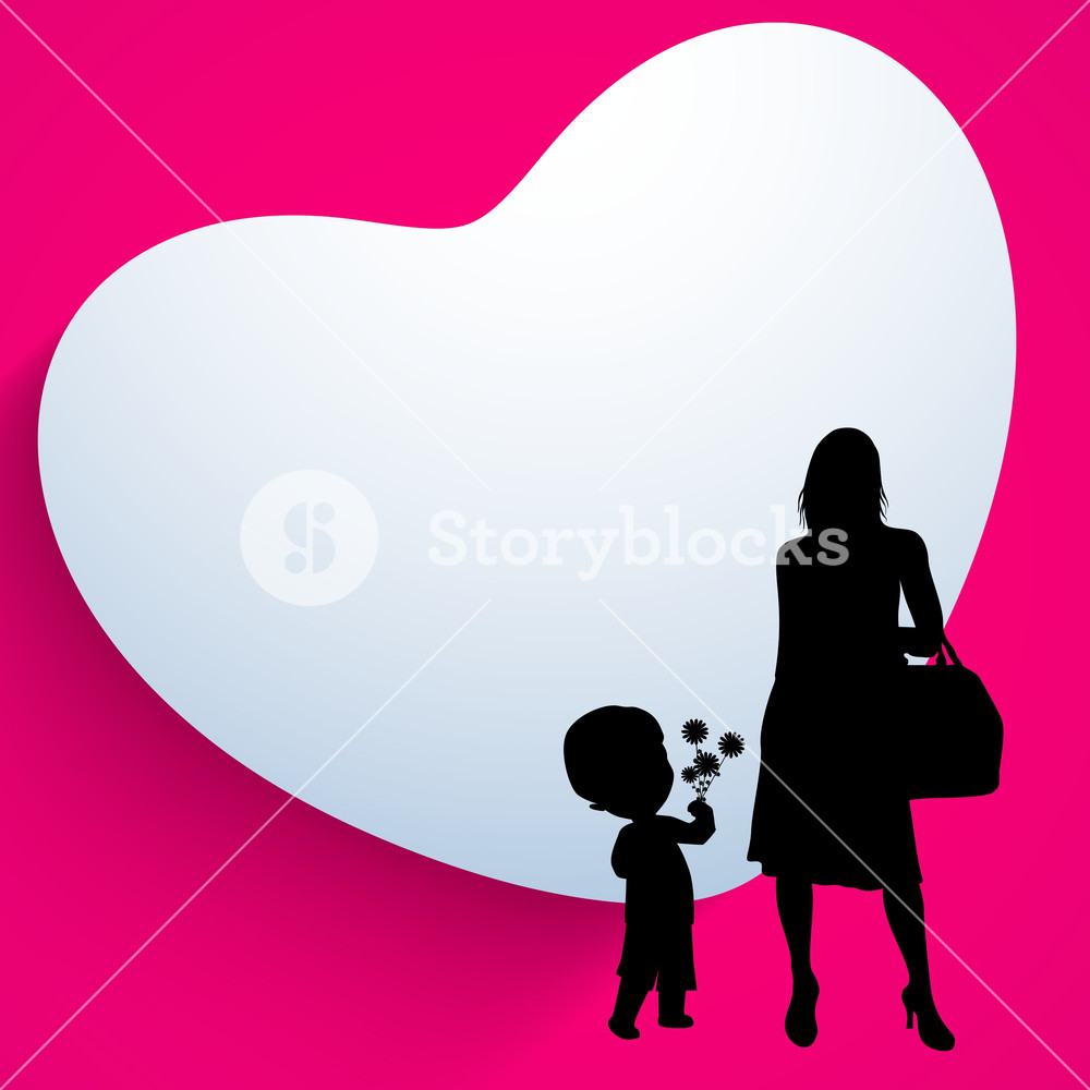 1000x1000 Happy Mothers Day Background With Silhouette Of A Mother And Her