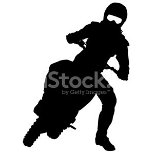300x300 Black Silhouettes Motocross Rider On A Premium Clipart