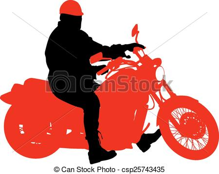 450x358 Black Silhouettes Motocross Rider On A Motorcycle. Vector