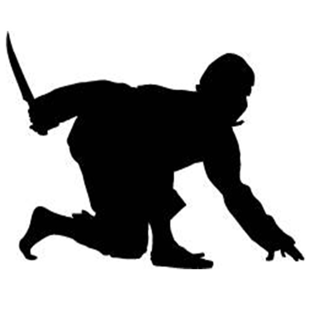 640x640 Ninja Crouched With Dagger Car Window Sticker Funny Jdm Martial