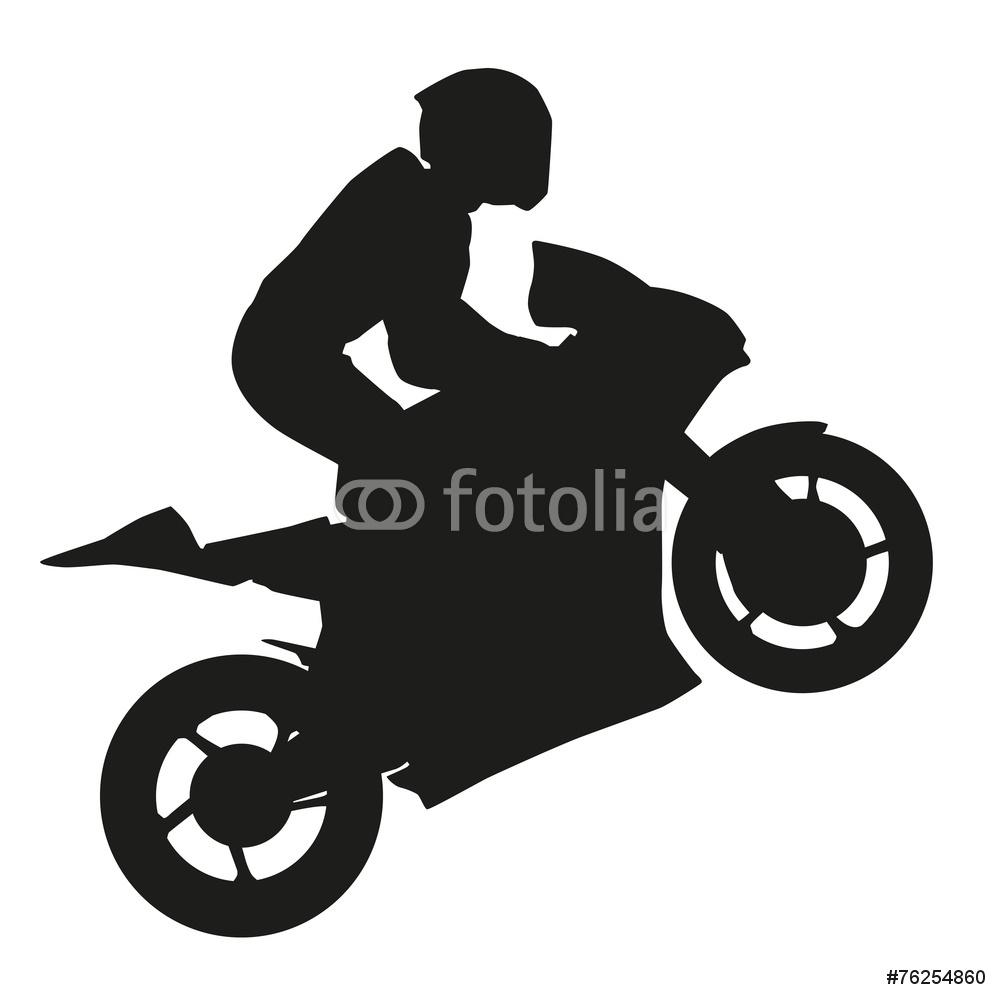 1000x1000 Biker Rider Lifts The Front Wheel Silhouette Wall Sticker Wall