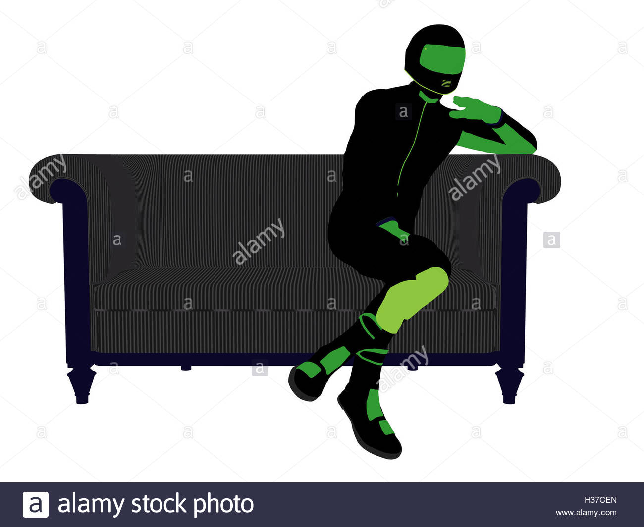 1300x1065 Male Motorcycle Rider Sitting On A Sofa Silhouette Stock Photo