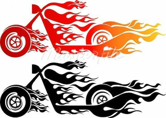 550x390 Flaming Motorcycle Stencils Silhouettes, Cricut