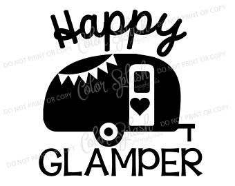 340x270 Happy Glamper, Glamping, Camper, Camping, Trailer Svg, Dxf, Png