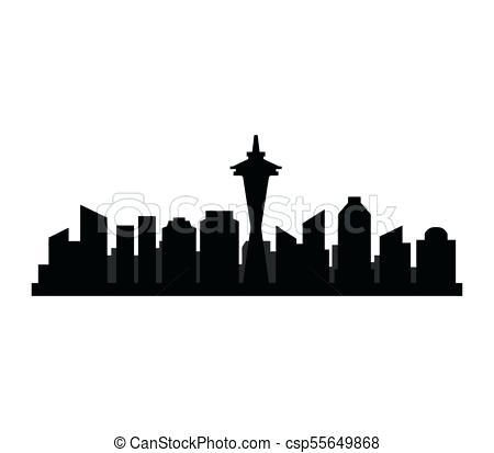 450x413 Seattle Skyline Art Nighttime Wall Line Letsbnb