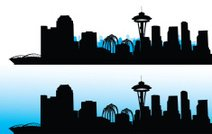 212x134 Silhouette Of Seattle City, Usa, Vector Stock Vectors