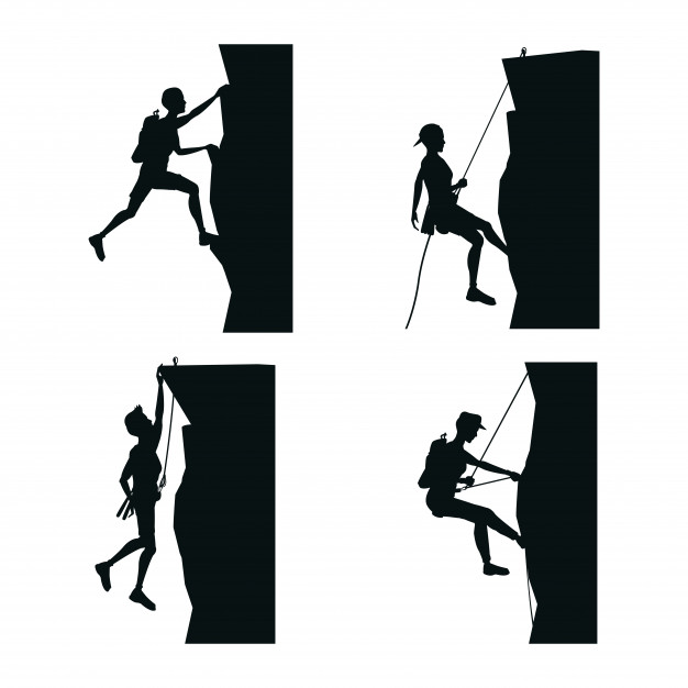 626x626 Set Black Silhouette Scene Men Climbing On A Rock Mountain Vector
