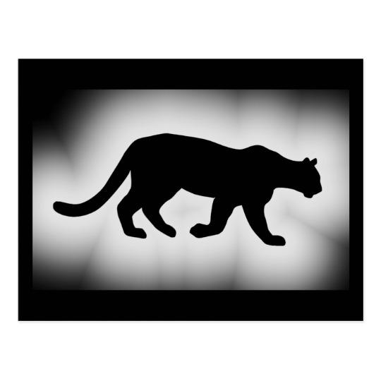 540x540 Puma Cougar Mountain Lion Silhouette Postcard