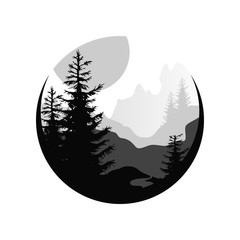 240x240 Beautiful Nature Landscape With Silhouettes Of Forest Coniferous