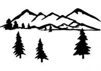 200x140 Fancy Mountain Silhouette Clip Art Mountain Scene Clipart Black