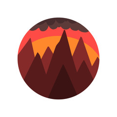 240x240 Minimalistic Round Icon With Silhouette Of Pine Forest, Mountain